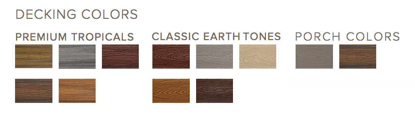 Color choices Trex offers for their decks